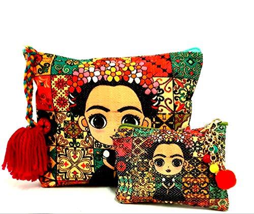 MW Fashion 🔥Cosmetiquera Cartera Bolsa para cosméticos Estuche con Cierre para Mujer diseño Artesanal Bolsa Multiusos Regalo de cumpleaños (Marias)