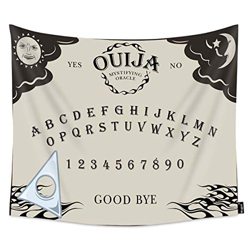 Mugod Ouija Board Tapestry Letter Number of a Ouija Board Sun Moon Star Spook on The Planchette Home Decor Tapestry Wall Hanging for Bedroom Living Room Dorm, 60WX51H Inches