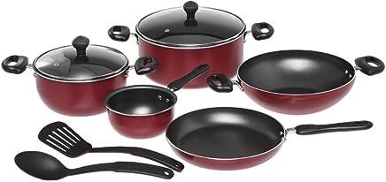 Prestige Aluminum Non-Stick Cookware Set of 9 Piece - Red