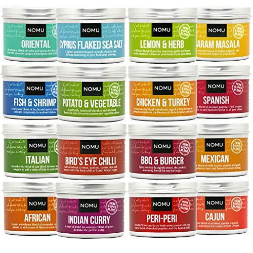 NOMU Seasoning Set of 16 Herb & Spice Blends | Home Cooking Gift Kit