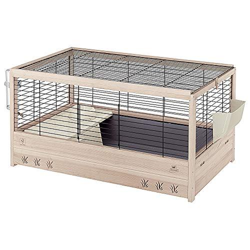 Ferplast Jaula de Madera para Conejos Arena 100, Conejillos de Indias, para pequeños Animales, Conejera con Accesorios incluidos, 100 x 62,5 x h 51 cm Negro