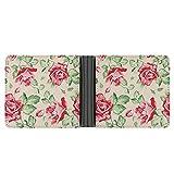Roses R-Etro Style Billetera de cuero para hombre, plegable bidireccional, cartera de moda, súper costura, súper grande, cartera súper fina