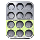 casaWare Ceramic Coated NonStick 12 Cup Muffin Pan (Silver Granite) by casaWare
