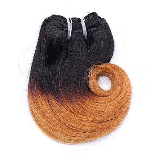 Zonghao Ombre Hellbraun Brasilianische Körperwelle Menschenhaar 4 Bundles/pack Remy Haareinschlagfaden 8 zoll Short Weave Extensions (# 1B / 27)