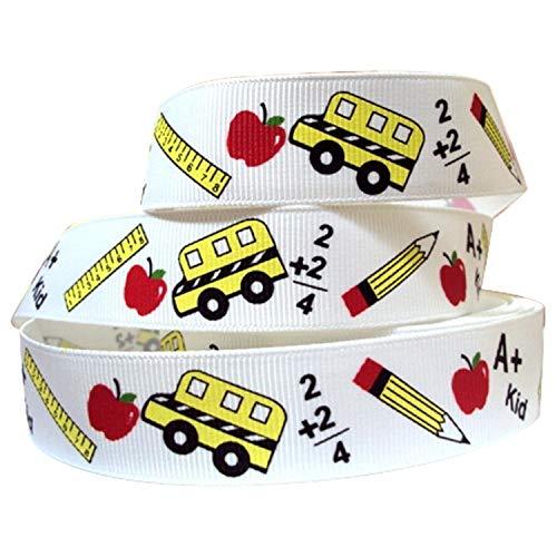 KatchOn Back to School Ribbon for Crafts - 10 Yard | School Themed Ribbon Decor | Decorations for Teacher Appreciation Gift | School Grosgrain Ribbon | Back to School Decorations Supplies