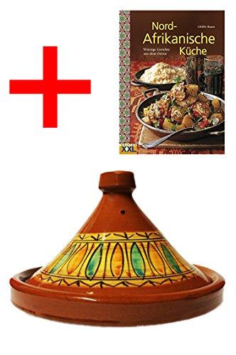 Marokkanische Tajine Topf zum Kochen + Kochbuch | Schmortopf glasiert Gulnar Ø 26cm für 1-3 Personen | inklusive Rezepte Buch Nord Afrikanische Küche | ORIGINAL Tontopf handgetöpfert aus Marokko