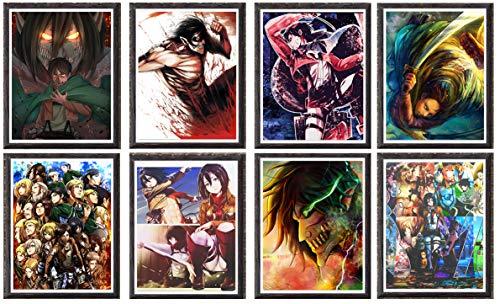 Attack On Titan Manga Anime Wallpaper Digital Canvas Art Póster de pared, 8 x 10 pulgadas, sin...