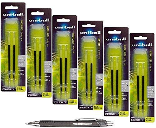 Uni-ball Jetstream RT Retractable Roller Ball Refills, Black Ink, 1.0 Mm Bold Point, 6 Packs of Refills 73832 with Free Pen