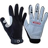 GearTOP MTB Handschuhe Fahrradhandschuhe Gloves für Fitness Downhill Mountainbike Herren und Damen (Black-Gray, M)
