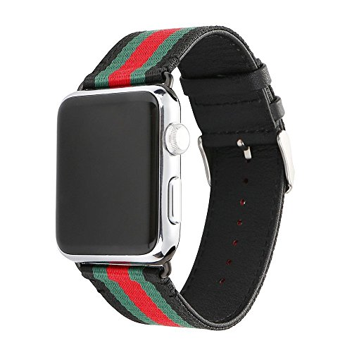 U191U Sport Band Compatible with Apple Watch, Smart Watch Strap Elegant Nylon & Genuine Leather Wristband with Metal Adapter Clasp| Fancy for iWatch Strap for Men & Women (Red/Green/Black, 42MM)