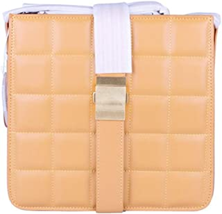 Lingge Minimalist Fashion Buckle Shoulder Bag Diagonal Package Fashion Ladies Leather Small Square Package. jszzz (Color : Yellow)
