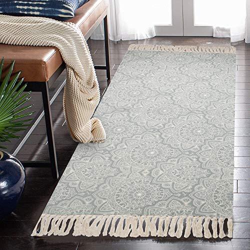 SHACOS Teppichläufer Grau Teppich Bedruckt Mit Quasten 60x130 cm Baumwolltepich Waschbar Küchenteppiche Abwaschbar Teppiche für Wohnzimmer Eingangsbereich Flur