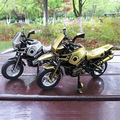 DAMAI STORE Simulation Legierung Motorradmodell Jahrgang Handwerk Kreativen Student Geschenk 16cm * 6cm * 10cm Dekoration (Color : Silver Grey)