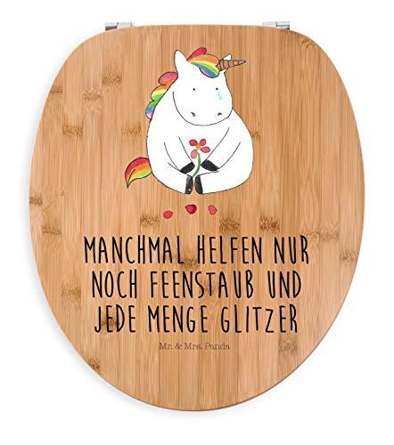 Mr. & Mrs. Panda Holz, Toilettensitz, Motiv WC Sitz Einhorn Traurig mit Spruch - Farbe Transparent