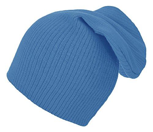 Chapeau d'hiver Beanie Clear Plain rayé hat Bonnet Fashion Jersay Oversize fashion Ski Snowboard (Blue)