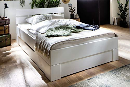 Main Möbel Bett mit Schubkästen 140x200cm Alice Fichte weiß