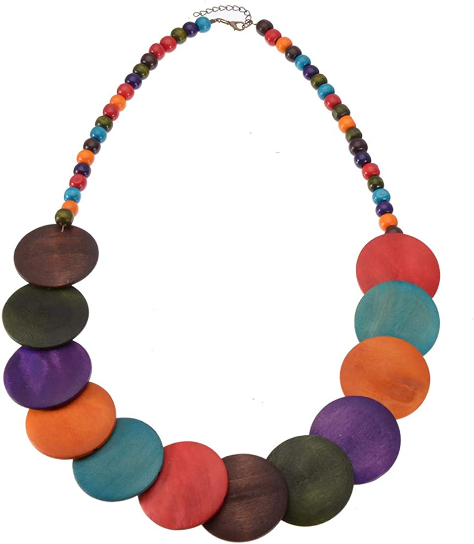 Mozhuo Boho Multilayer Wood Beaded Statement Necklace Chunky Collar Choker Bib Necklace for Women Novelty Jewelry Handmade (Multicolor Round Wood Beads)