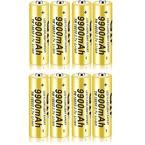 18650 Batería Recargable de Iones de Litio 3.7V 9900mah Baterías de botón de Gran Capacidad para Linterna LED, iluminación de Emergencia, Dispositivos electrónicos, etc. 4/8 Piezas (Amarillo) (8 pcs)
