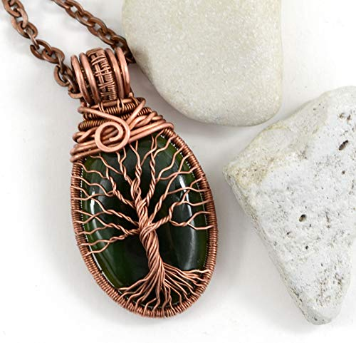Rose Quartz Tree Of Life Pendant Necklace Copper Wire Wrapped Pendant Jewelry Handmade Necklace Protection Amulet 7th Anniversary Gift