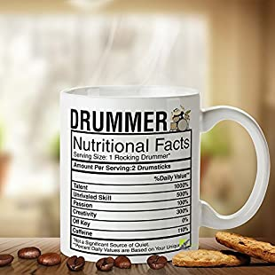 DZ068 Drummer Nutritional Facts Great Gift Idea Funny Novelty Mug