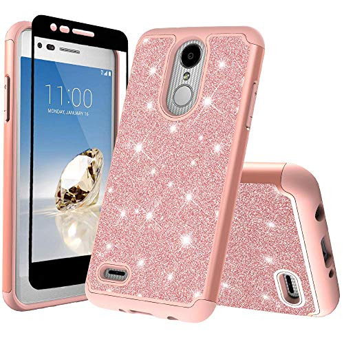 Coolpad Illumina Case/Coolpad Legacy Go Case w/Tempered Glass Screen Protector Glitter Dual Layer Defender Silicone Hard Case Shock Proof Protective Cover for Illumina 3310/3310A - Rose Gold
