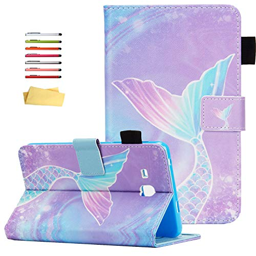 UUcovers Folio Case for Samsung Galaxy Tab E 8.0 inch 2016 Tablet (Model SM-T375/T377) with Stand Pencil Holder Card Pockets PU Leather Smart Auto Wake/Sleep Magnetic Cover, Pink Mermaid Tail Scale