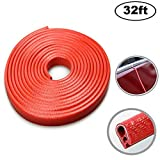 Car Door Edge Guards Strip U Shape Flexible Car Door Protector Rubber Anti-Collision Rubber Trim Seal Lining Protect from Chips,Scratches Fits for Most Universal Vehicle(Red 32Ft)
