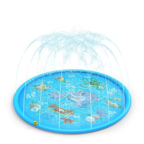 CestMall Sprinkle and Splash Play Mat, 170cm Kid Sprinkler Pad Portable Outdoor Water Play Sprinklers Inflatable Splash Play Mat, Summer Essential Spray Toys for Kids and Outdoor Family Activities