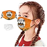 Woohooens Bambino Tessuto Bocca in Cotone + 2×Filtri Carbone Attivo Sportivo - Stampa di Halloween - Lavabili Riutilizzabili Visiera Viso per Bambino