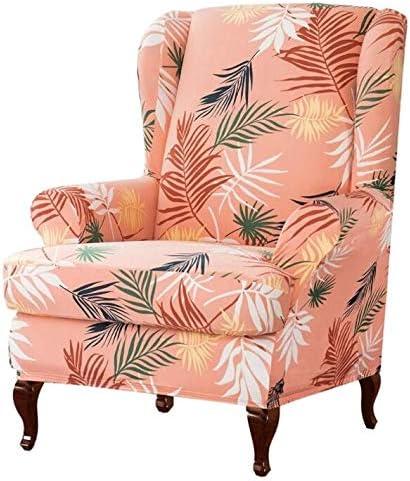 Leaves Pattern Printing Stretch Chair 送料無料 一部地域を除く 人気ブランド多数対象 Wingback 2-Piece Slipcover