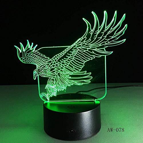 lampara de noche led Luces 3D ty Carga por USB del tacto de 7 colores del partido de la fiesta de la decoración del regalo de cumpleaños de los niños