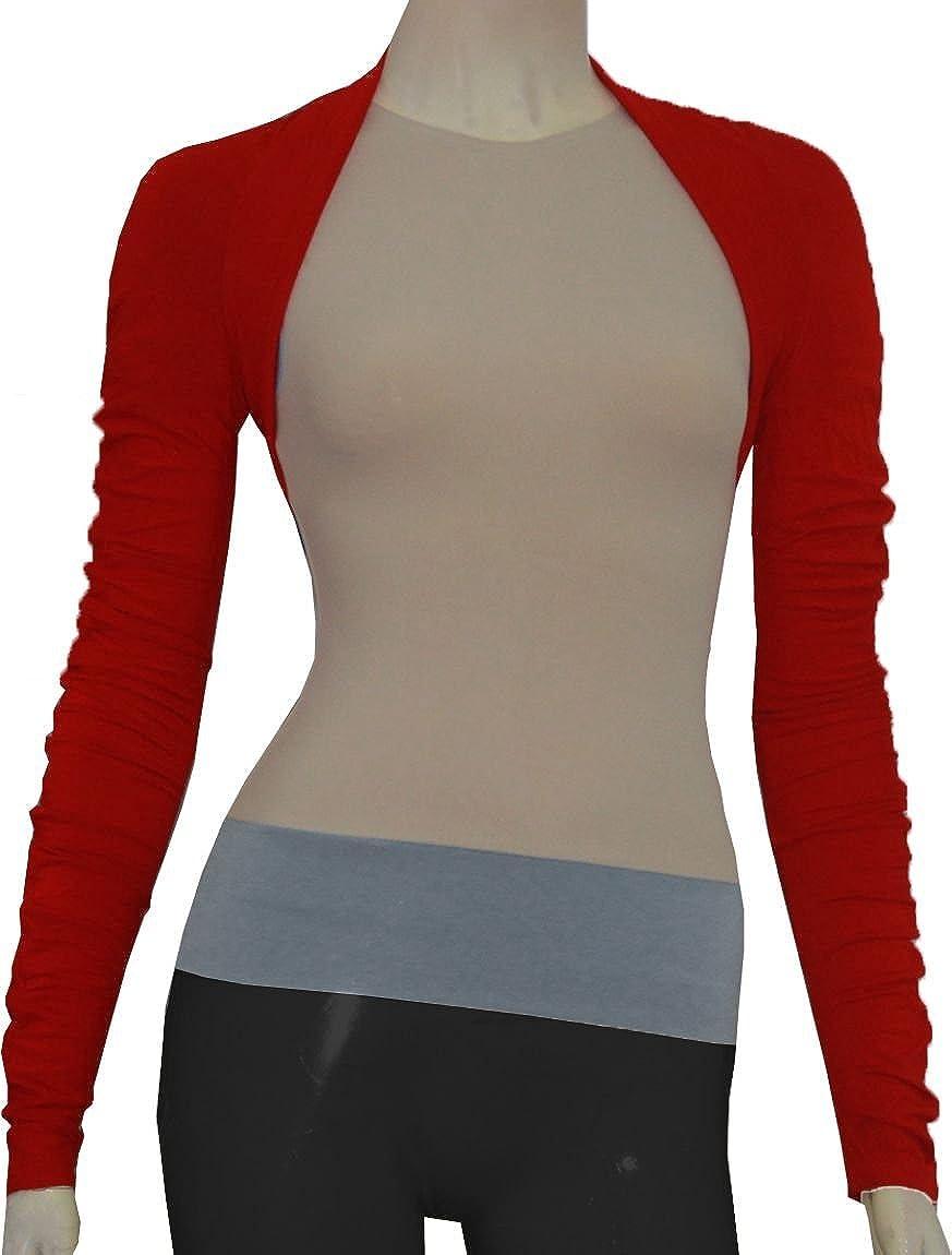 E K Women's knit cotton jersey shrug Long sleeved dancewear bolero for yoga & ballet