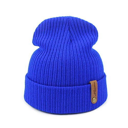 JIAXINJIE Dad Blue Cap Crochet Otoño Invierno Mujeres Hombres Unisex Gorros De Punto Gorras Sombreros Sólidos Pasamontañas Gorros Sombrero