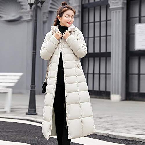 SWAQS Jas Vrouwen 2019 Kraag Hooded Rits Lange Jas Vrouwen Jas Riem Warm Vrouwen Winter Jas L Wit geen Bont kraag