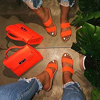 Summer Women Flat Slippers Candy color Soft Slides Female Cool Flip Flops Sandals Comfortable Ladies Outdoor Beach Shoes Simple casual slippers (Color : Orange, Shoe Size : 7)