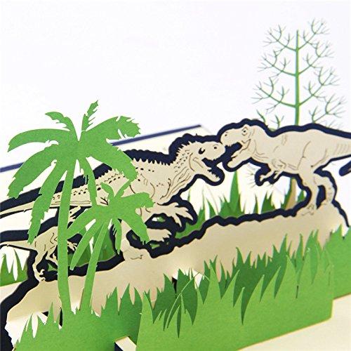 Tarjeta de felicitación estéreo 3D dinosaurio jurásico tarjeta de felicitación hecha a mano para niños postal de cumpleaños
