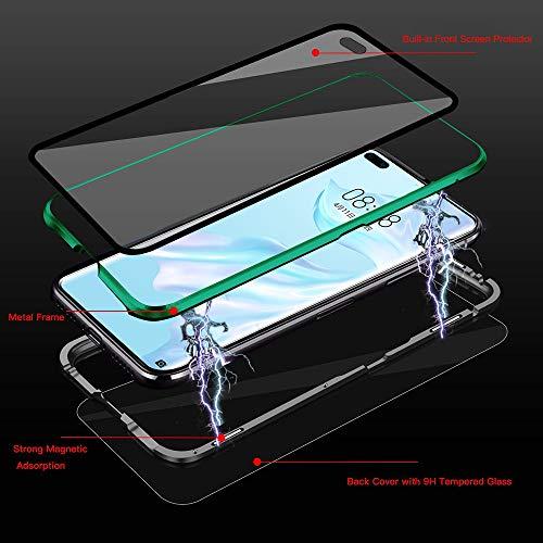 Kompatibel mit Huawei P40 Pro Hülle, Schutzhülle Magnetische Adsorption Metallrahmen und Panzerglas Handyhülle Ultra Slim Dünn Durchsichtig Transparent 360 Grad Full Body Protection - Nachtgrün - 2