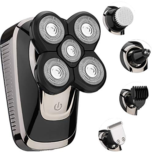 Electric Razor for Men, Rotate Shaver Grooming Kit by Hieha Electric Beard Trimmer, Hair Clipper 5 Headed Shaver Light Weight for a Perfect Bald, Dad,Husband,Kids,Woman, Cordless and Rechargeable