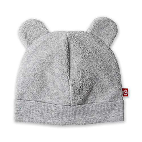 Zutano Unisex Baby Fleece Hat for Baby Boys and Baby Girls, Heather Gray, 12M