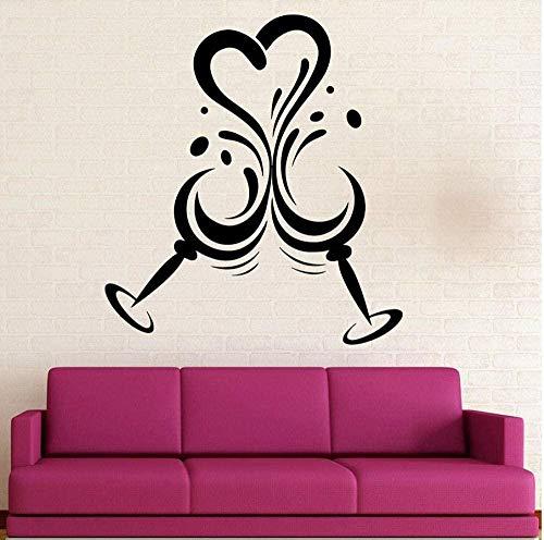 Wanddecoratie voor muren De Vinyl Home Kitchen Decor cadeauliefhebbers voor de woonkamer waterdicht wijnglas liefde 57X62cm kunst citaat muursticker, verwijderbaar doe-het-zelf handwerk, wooncultuur wandtattoo, PV