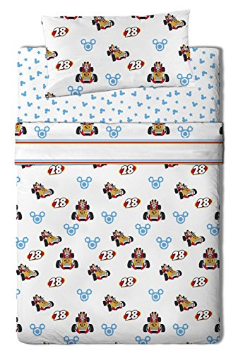 Disney Juego Sábanas para Cama diseño Mickey, Algodón-Poliéster, Multicolor, Individual, 200x90x25 cm, 3 Unidades