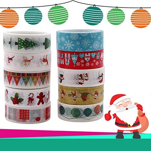 Nuluxi Navidad Cintas Adhesivas de Cinta DIY Decoración Navideña Cinta de Enmascarar Juego de Cintas Washi Navideñas Fácil de Usar y Lindo Diseñado para Scrapbooking DIY Navidad Manualidades-10 Rollos