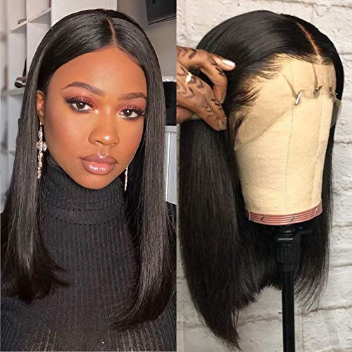Human Hair Bob Wig Lace Front 13x4 Remy Hair Lace Frontal Wigs 150 Density Brazilian Human Hair Short Bob Wigs for Black Women Straight Hair 14 Inch Natural Color