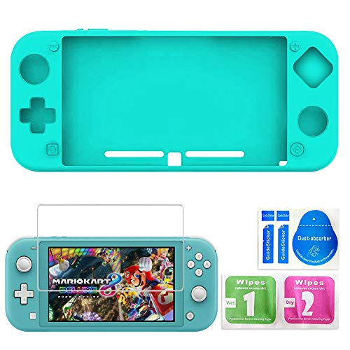 KenSera Case for Nintendo Switch Lite, Switch Lite Skin Accessories Kit Protective Light Slim Silicone Case Cover Shell Protector with Switch Lite Screen Protector (Turquoise)