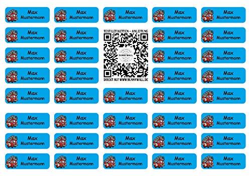 Sunnywall® für Kleidung Namensaufkleber Aufbügel-Etiketten Aufkleber Sticker 3,8x1,4cm | 37 Stück für Kinder Schule und Kindergarten (Feuerwehr 41)