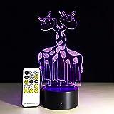 Creativo Cute Animal Giraffe o Christmas Party Night Light 3D LED Lámpara de mesa niños regalo de cumpleaños decoración de la habitación junto a la cama