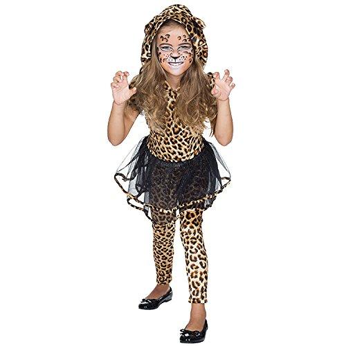Rubie's Vestito leopardato con cappuccio, per bambini, taglia: 116