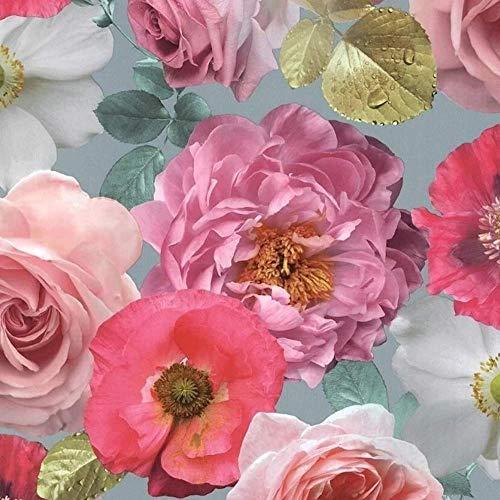 Arthouse-Tapete mit mehrfarbigem Rosenmuster, Motiv: Landhausgarten, schwer