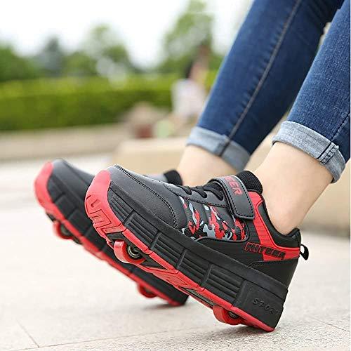 XRDSHY Zapatos para Niños Unisex con Ruedas Skateboard Shoes Multideports Atletismo Al Aire Libre Gimnasia Skate Costers Chica Boy Moda Zapatillas De Deporte con Ruedas,Red-32