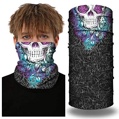SansoiSan Unisex 3D bedruckte Schlauchmaske Stirnband Halswärmer Gaiter Multifunktionale Bandana Tube Schal Stirnband Gesichtsmaske Kopftuch Sturmhaube Gr. Einheitsgröße, Blume Totenkopf bedruckt